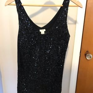 Black sequin top from J.Crew